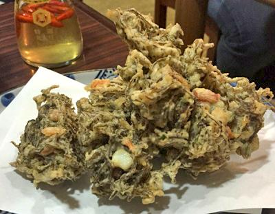 新橋駅近くにある沖縄料理はいさいの天ぷら