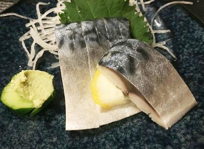 東京駅八重洲口近くにある日本酒居酒屋ふくべのしめ鯖