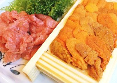 東京都中央区勝どきにある海鮮定食食堂池のやの雲丹鮪中とろ定食