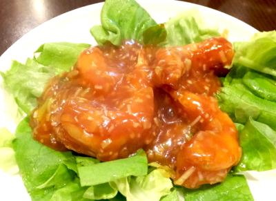 大阪難波駅近くにある中華料理岩亭のエビチリ