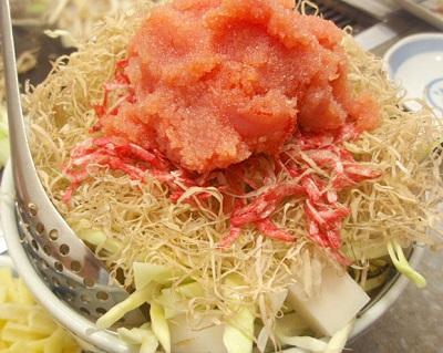 東京都中央区月島駅近くにあるもんじゃ焼きつきしま小町明太もちチーズもんじゃ