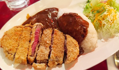 東京都有楽町駅近くにある居酒屋まんぷく食堂のビーフカツ&カリー