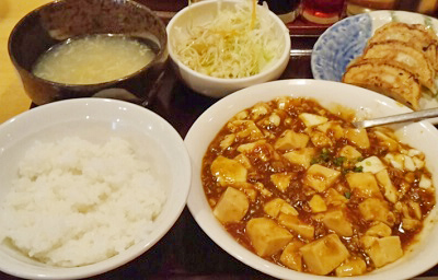 市ケ谷駅近くにある中華料理安安餃子房の麻婆豆腐