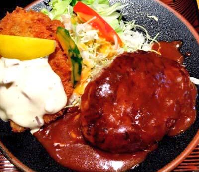 京都鞍馬口駅近くにある洋食屋まつもと食堂のハンバーグ