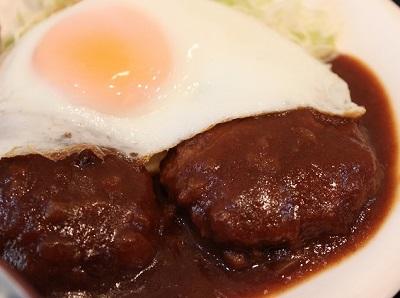 八幡山駅近くにある定食屋夢食堂のハンバーグ