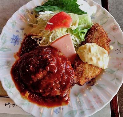 京都茶山駅近くにある洋食屋ジュネスのハンバーグ