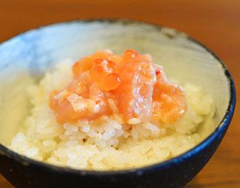 サーモン塩辛と白米