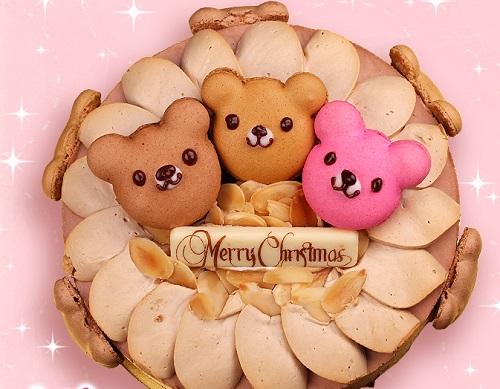 クマのマカロンクリスマスケーキ